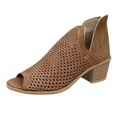 Retro Mujer tacón bajo Peep Toe Zapatos Hueco Tobillo talón Grueso Romano Damas Botas