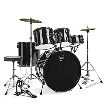 Best Choice Products 5-Piece Full Size Complete Adult Drum Set w/ Cymbal Stands Stool Drum Pedal Sticks Floor Tom  Black