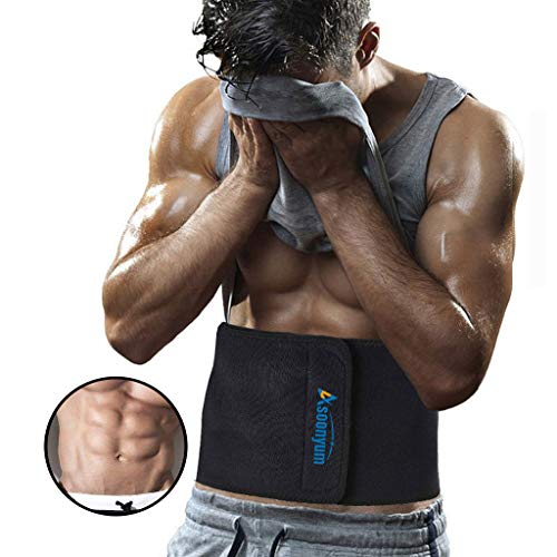 ASOONYUM Waist Trainer Trimmer Shaper for Women Men Weight Loss, Ab Belt, Stomach Wrap Sauna Belts, Helps Abdominal Muscle & Workout Sweat Enhancer, Back Lumbar Support, 3 Adjustable Hooks Black
