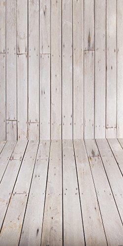 Muzi XT-4962 Fotohintergrund, Papier, weiße Holzplanken, faltbar, Foto-Requisiten, Studio-Hintergrund, 150 x 300 cm