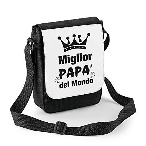 bubbleshirt Mini Borsa a Tracolla Festa del papà miglior papà del Mondo - Happy Father's Day - Idea Regalo