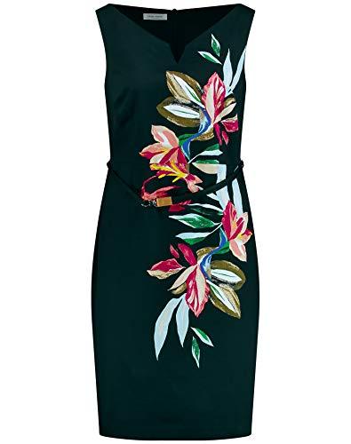 Gerry Weber Damen Kleid mit Blütenranke tailliert Schwarz/Lila/Pink Multicolor 46