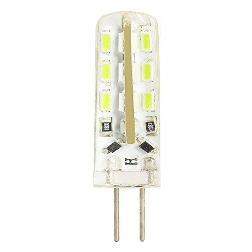 Pack de 1 bombilla LED G4, 1,5 W, equivalente a bombillas halógenas de 10 W, luz blanca fría, 12 V CC, 110 lm, sin parpadeo, no regulable, ángulo de luz de 360°.