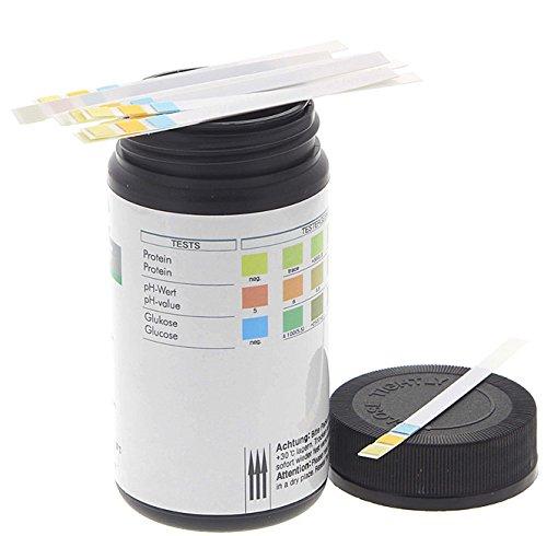 Harnanalyse 100 Stck Urin ph Streifen, Kosmetex pH-Teststreifen, für visuelle Auswertung vom ph-Wert 5-9, Protein, Glukose