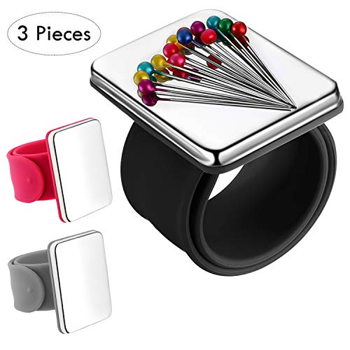 3 Pieces Magnetic Sewing Pincushion, Magnetic Pin Holder Wristband Pin Cushion Holder for Quilting Sewing Pins Embroidery Hair Clips, Silicone Wrist Strap Bracelet, 3 Colors