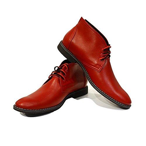 PeppeShoes Modello Cleto - EU 43 - US 10 - UK 9-28 cm - Handgemachtes Italienisch Bunte Herrenschuhe Lederschuhe Herren Rot Stiefeletten Chukka Stiefel - Rindsleder Weiches Leder - Schnüren