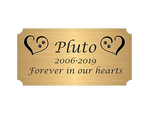 Personalized Pet Urn Tag, Satin Solid Brass Plate, Pet Memorial Name-Plate, Bronze Sign, Pet Remembrance Plaques, Monogrammed Brass Pet ID Tag, Custom Pet Urn Memorial, with Adhesive Engraved Free