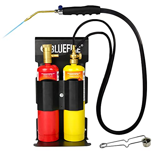 BLUEFIRE Oxygen MAPP/Propane Cutting Torch kit Free Accessory of Flint Lighter and Cylinder Holder Rack Duel Fuel by Oxygen and MAPP PRO/Propane Welding Brazing Soldering Gas Cylinders Not Included