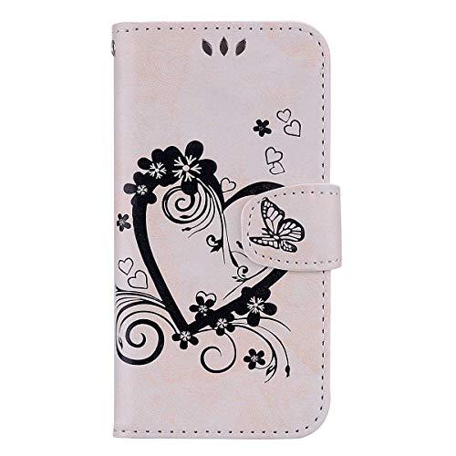 iPhone XR Hülle, Bear Village® PU Leder Flip Tasche, Schutzhülle mit Ständer Funktion und Card Holder, Handyhülle für Apple iPhone XR, Weiß