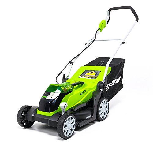 Greenworks 40V 14 Inch Cordless Lawn Mower, 4Ah Battery and Charger Included MO40B410