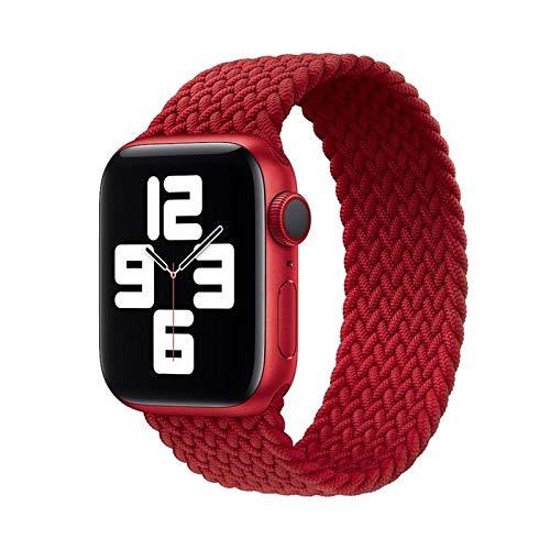 Brting Sorteo 2020 Correa Trenzada de Tela de Nylon de Bucle Solitario for Apple Watch Band 44mm 40mm 38mm 42mm Pulsera elástica for iWatch Series 6 SE 5 4 3 (Color : 04 Red, Size : L(42mm-44mm))