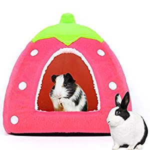 Spring Fever Hamster Guinea Pig Rabbit Dog Cat Chinchilla Hedgehog Bird Small Animal Pet Bed House Hideout Cage Accessorie C Pink XS