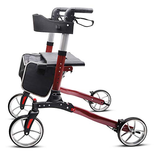 Give Me 2 in 1 Deluxe Medical Aluminum Walkers for Seniors with 10'' Large All Terrain Wheels - Transport Chair with Paded Seatrest, Foroldable Bariatric Rollator Walker with Seat (Cherry Red)
