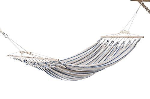 Chico-Doppelhängematte 350 x 190 cm - Baumwolle, beige-blau