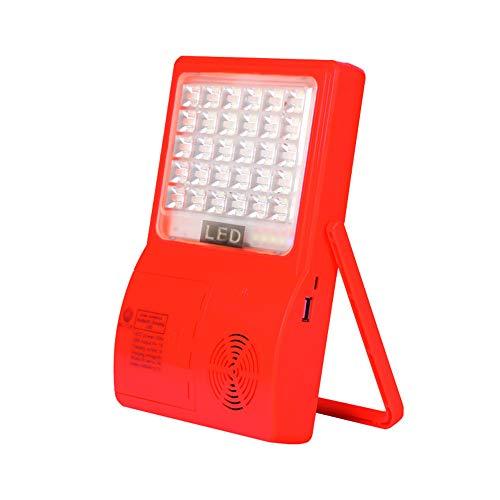 Luz de trabajo LED portátil con Bluetooth con soporte, Luz de emergencia recargable con panel solar incorporado, Iluminación solar para acampar al aire libre a prueba de agua, Luz de inundación