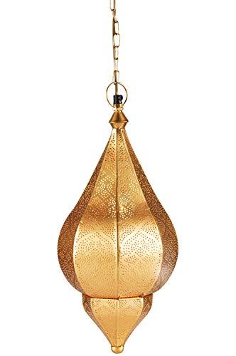 Orientalische Lampe Pendelleuchte Gold Kihana 40cm E14 Lampenfassung | Marokkanische Design Hängeleuchte Leuchte aus Marokko | Orient Lampen für Wohnzimmer Küche oder Hängend über den Esstisch