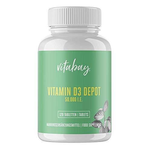 Vitamin D3 Depot 50.000 I.E. - 120 vegane Tabletten - Nur eine vegane Tablette / 20 Tage - hochdosiert - made in Germany