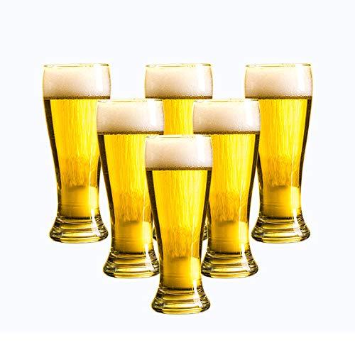 Taza de cerveza grande de vidrio de 6 piezas,copa de vino de barra de cerveza de barril de personalidad creativa engrosada,tazas de vino para el hogar,tazas de té de flores,tazas de jugo - 355 ml