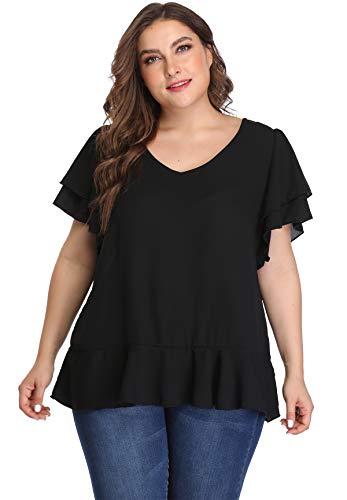 MISS MOLY Damen Große Größen Oberteile V-Ausschnitt Tunika Chiffon Übergrößen T-Shirt Schwarz X-Large