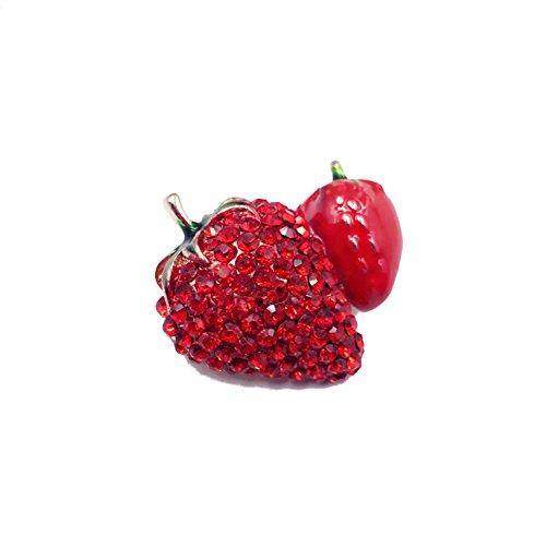 Vi.yo Brosche und Anstecknadel Sicherheitsnadel Kragen Schmuck Diamant Legierung Erdbeer Brosche Pin Obstschal Schnalle Rot