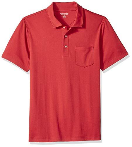 Amazon Essentials - Polo de manga corta ajustado y con bolsillo para hombre, Rojo, US S (EU S)