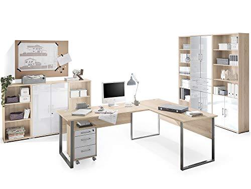 moebel-eins Office Deluxe 8-teiliges Büroprogramm, Material Dekorspanplatte/Glas, Eiche sonomafarbig/Weiss
