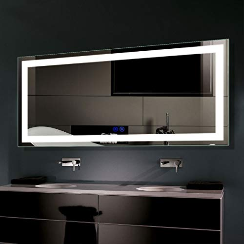 Dimmable LED Bathroom Mirror, Antifog Wall Mounted...