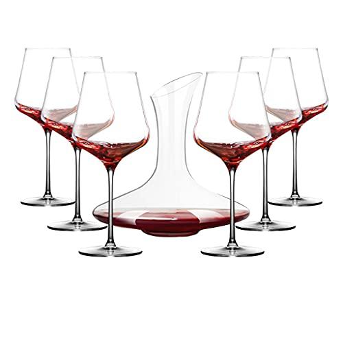 Copas de vino Juego de Copa de Vino Tinto + decantador de Vino, Pareja de Restaurante, Copa de Vino de Cristal, Copa de Fiesta, Caja de Regalo, (Color : Clear, Size : 700ml)