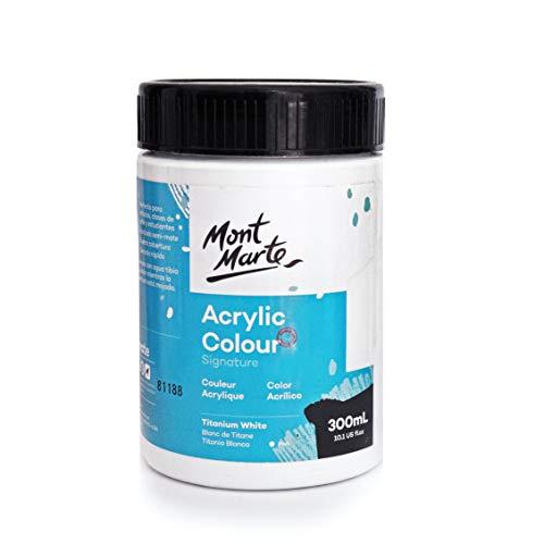 Mont Marte Pintura Acrilica Blanca – 300ml – Blanco Titanio – Ideal para Pintura Acrilica – Color brillante y resistente a la luz con gran opacidad
