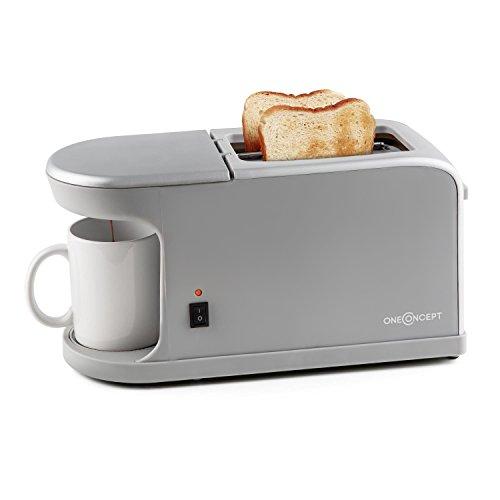 oneConcept Quickie 2 in 1 tostapane con macchina per il caff integrata (900-1050w, doppio slot, 7...