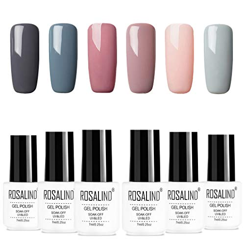 ROSALIDN esmalte semi-permanente para uñas kit, 6pcs/lot Color desnudo uv gel polish manicura set, 7ml…