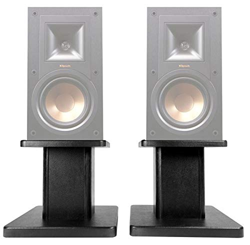 (2) 8 Black Bookshelf Speaker Stands for Klipsch R-15PM Bookshelf Speakers