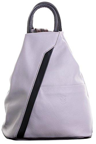Primo Sacchi ® Italienisch Weicher Napa hell grau & brauner Leder Griff Umhängetasche Rucksack Tasche. Inklusive Markenschutz-Aufbewahrungstasche