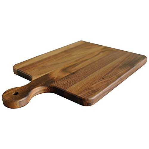 Virginia Boys Kitchens - Made in USA - Walnut Wood Cutting Boards - Reversible with Juice Groove (Walnut, 10x16 with handle)