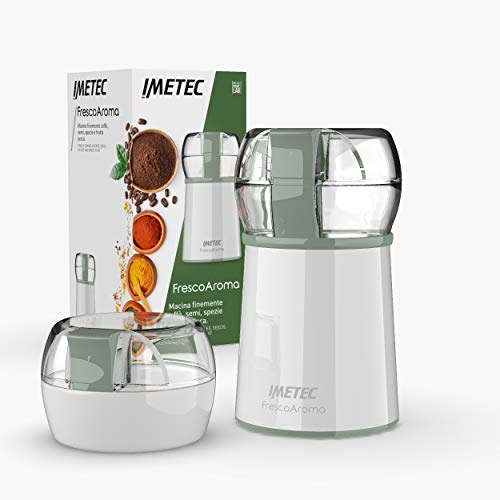 Imetec 7479 Molinillo,café, Especies Semillas y Frutos Secos, Cuchillas de Acero INOX, Capacidad de 50 gr, 150 w, Blanco/Verde