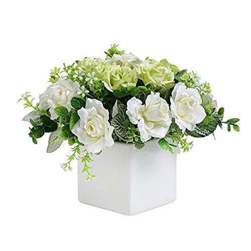 WXL Gefälschte Blume Künstliche Blumen-Elfenbein-Rosen-Blumengesteck-quadratische weiße keramische Vase for Schlafzimmer-Wohnzimmer Blume