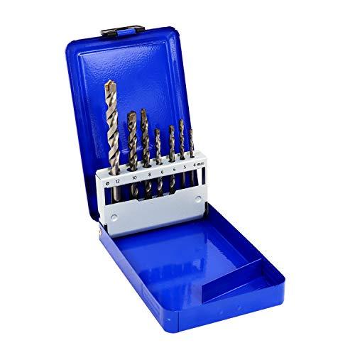S&R Professionelle Mehrzweckbohrer, Universalbohrer mit Hartmetallplatte und Zentrierspitze, Bohrer-Set 7-tlg: 4x75, 5x85, 6x100, 6x100, 8x120, 10x120, 12x160 mm, in Metallbox