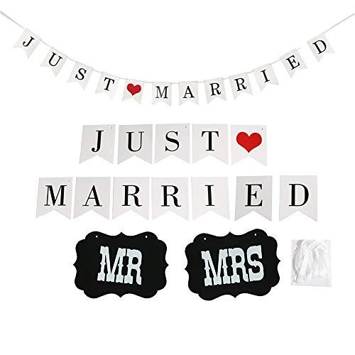 SIMUER Just Married Wimpelkette Banner Girlande mit Foto Automat Requisiten Schilder MR und MRS für Hochzeit Fest Partei Dekoration Brautdusche Junggesellinnenabschied Weihnachten Fotografie
