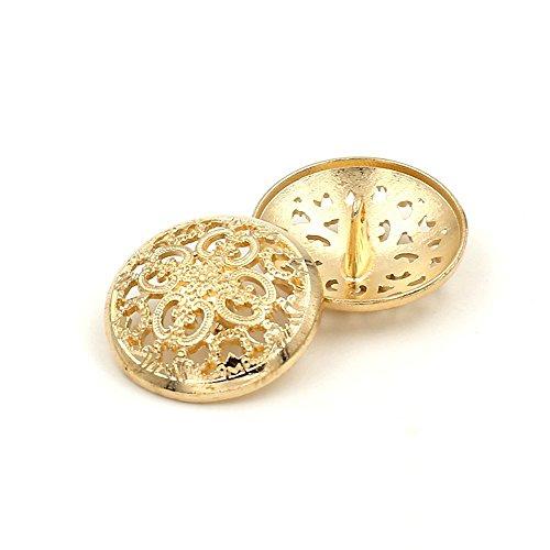 10PCS Kleidung Knopf - Retro Hollow Sewing Button Shank Runde Geformte Metall Button Set für Männer Frauen Blazer, Mantel, Uniform, Hemd, Anzug und Jacke (Gold, 15mm)