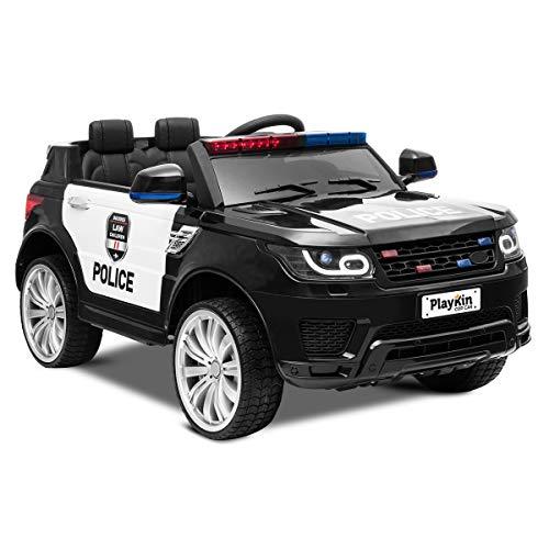 Playkin COP CAR - Coche de policia de bateria 12V niños 3-8 años con luces, sonidos, mando juguetes infantiles coches de bateria