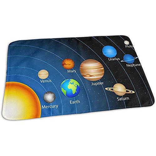 Tapis A Langer,Système Solaire Montrant Des Planètes Autour Du Soleil Tapis De Matelas À Langer Accrocheurs Pour Garçons Et Filles 50cmx70cm