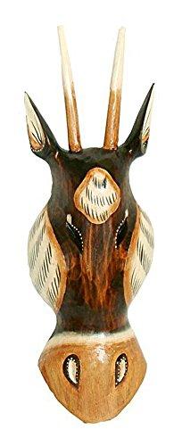 TEMPELWELT Wanddekoration Maske Holzmaske Antilope Kopf 30 cm, Albesia Holz braun weiß, Holzfigur Kunsthandwerk Asien Bali Handmade Unikat