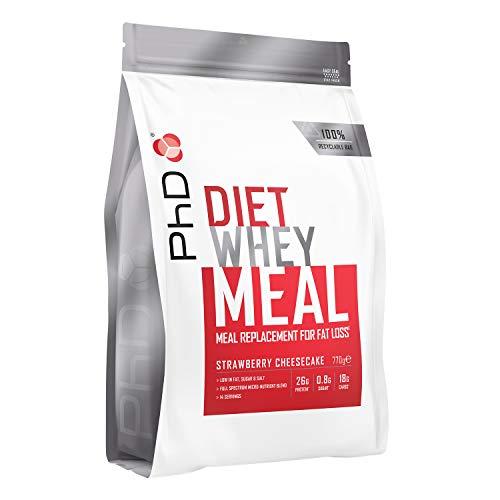 PhD DE Nutrition Diät Molke Fettarmes Mahlzeitenersatz Pulver, Erdbeer-Käsekuchen Aromatisiert Formel für Gewichtsverlust Shakes, 770 g