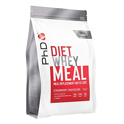 PhD Diet Whey Meal, High protein meal replacement shake (Strawberry Cheesecake) 770g