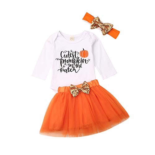 Baby Girls Halloween Clothes Toddler Ruffle Sleeve Romper Suspender Skirt+Pumpkin Outfits+Leg Warmers+Headband (Dress-Orange, 3-6M)