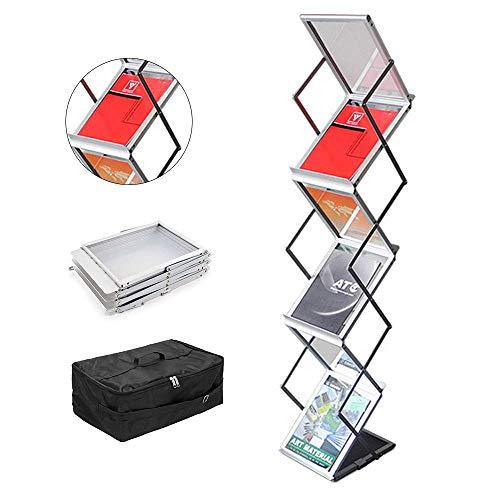 GUOHONG Prospektständer Faltbar 6 x DIN A4 Infoständer Katalogständer Broschürenständer aus Aluminium/Acrylglas mit Praktischer Oxford Tragtasche