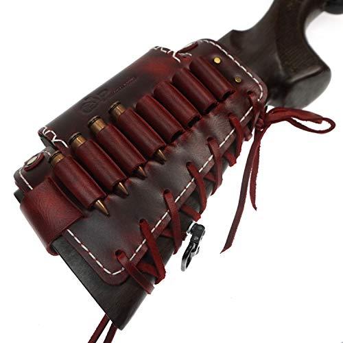 Custodia per fucile in pelle con imbottitura per guanciale, supporto per cartuccia, passanti per qualsiasi cartuccia, supporto per polsini, regalo Hunter (Rosso marrone)