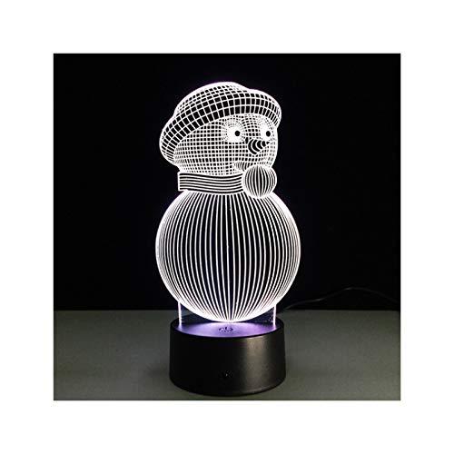 TIDRT Lindo 3D Acrílico Muñeco De Nieve Lámpara De Mesa USB Led Luz De Noche 7 Colores Decoración Creativa del Hogar Niña Dormitorio Iluminación Niño Fiesta Regalo De Cumpleaños