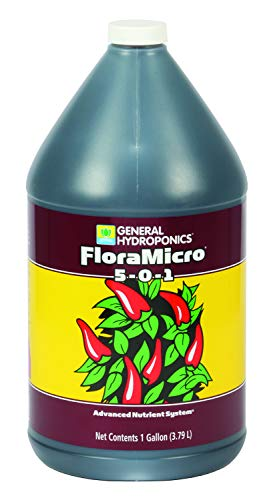 General Hydroponics HGC718125 FloraMicro 5-0-1, Use with FloraBloom & FloraGro for A Tailor-Made Nutrient Mix Ideal for Hydroponics, 1-Gallon, natural