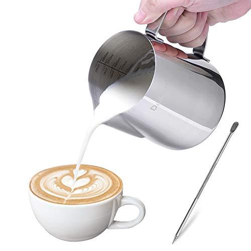 Milchkännchen, Dailyart 350ml Milchkanne Edelstahl Handheld Aufschäumkännchen Krug Kaffee Creamer Milch Aufschäumer Kännchen Tasse mit Messung Mark und Latte Art Pen, Perfekt für Cappuccino Espresso